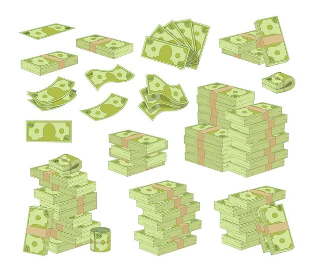 돈을 흰색 배경에 고립의 집합