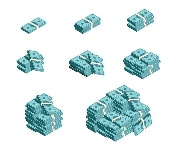 Набор денег сваи, доллар наличными. градация денежных пакетов, идеально подходит для приложений и игр. сбор игровых денег.
