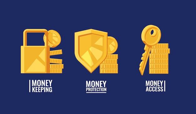 保護のアクセスのお金を維持してお金のセキュリティ構成のセット