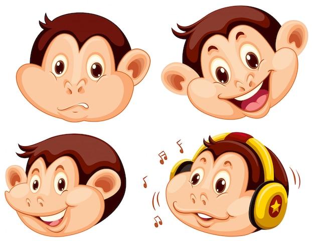원숭이 만화 머리의 세트