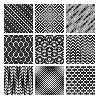 モノクロの幾何学的なシームレスパターンのセット