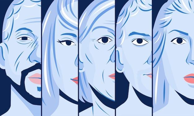 Набор монохромных иллюстраций различных половин лица