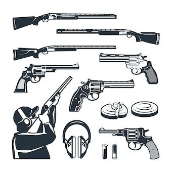 クラブを撮影するためのさまざまな武器やアクセサリーのモノクロ写真のセット。武器のライフルと銃の射撃のイラスト
