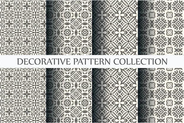 モノクロのシームレスな装飾パターンのセット