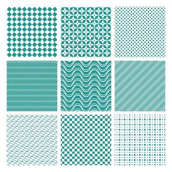 モノクロのシームレスなパターンのセット