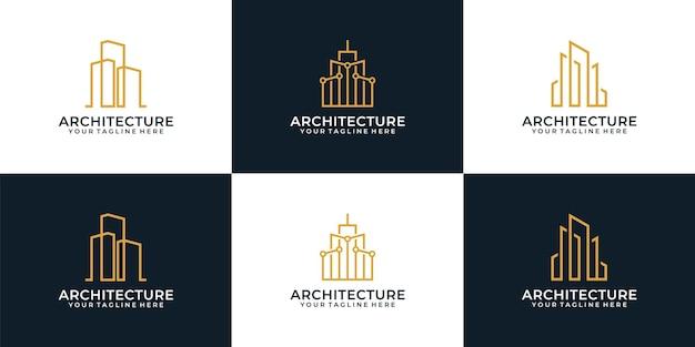 모노그램 아키텍처 건설 럭셔리 로고 개념의 집합