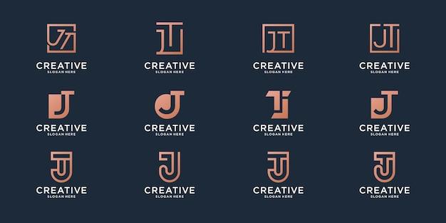 Набор монограммы комбинации буквы t и буквы j логотипа