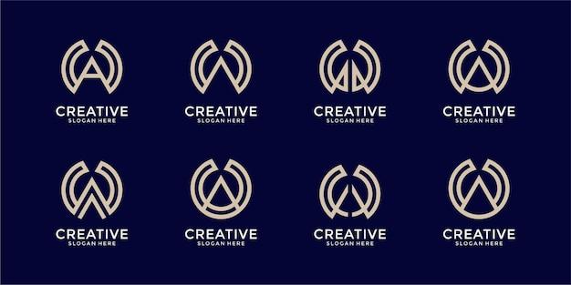 モノグラムの組み合わせ文字wと文字aロゴのセット