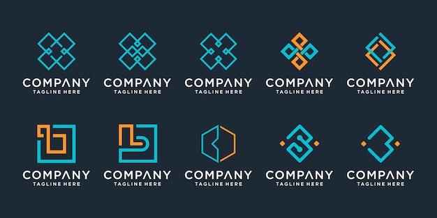 シンプルな技術のビジネスのためのモノグラムクリエイティブレターbロゴデザインテンプレートアイコンのセット