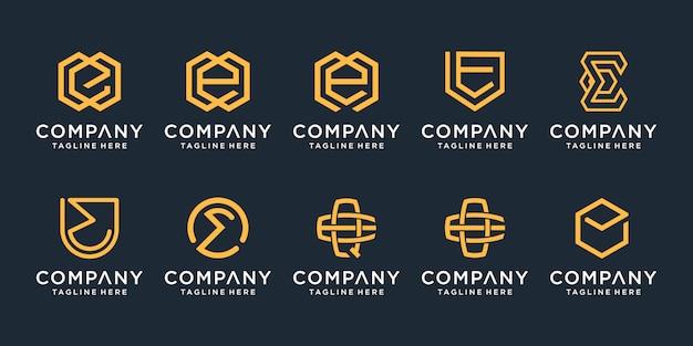 Набор вензеля творческого письма e логотипа шаблона. иконки для бизнеса роскоши, элегантные, простые.