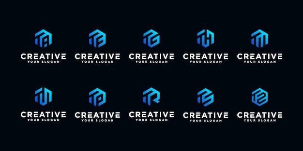Набор монограммы творческого буква t логотип шаблон. Premium векторы