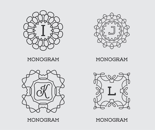 モノグラムデザインテンプレートのセット。文字ベクトルイラストプレミアムエレガントな品質。コレクションパック。