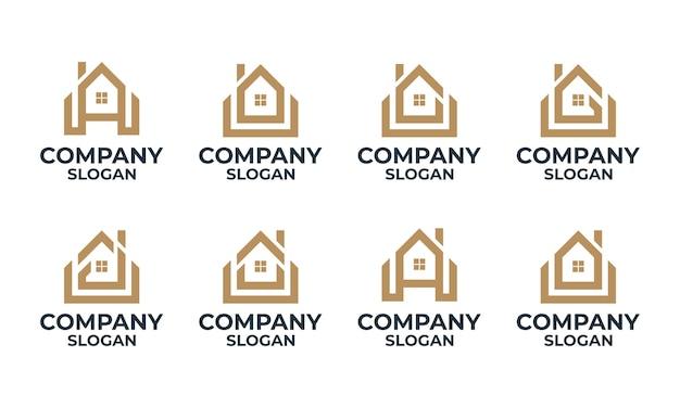 モノグラムの家、家、頭文字のロゴのデザインテンプレートと建物のセット