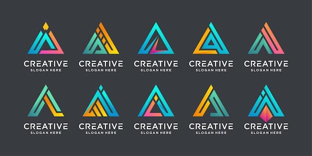 모노그램 초기 편지 a 로고 디자인 서식 파일의 집합입니다. 비즈니스 아이콘