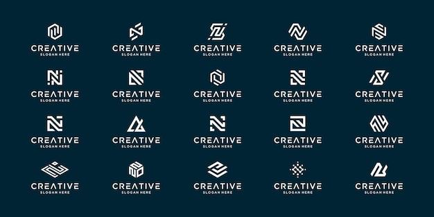 モノグラムの頭文字nのセット。パーソナルブランディング、ビジネス、会社などのクリエイティブなアイデアシンボル。