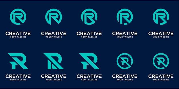 Набор монограмм буквица r логотип шаблон