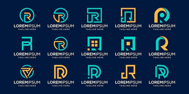 モノグラム頭文字rrrロゴテンプレートのセット。ファッション、ビジネス、コンサルティング、テクノロジーデジタルのビジネスのためのアイコン。