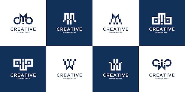 豪華でエレガントなシンプルなビジネスのためのモノグラム頭文字wと文字mのロゴテンプレートアイコンのセット