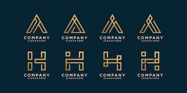 골든 라인 아트 스타일의 모노그램 문자 a 및 h 로고 컬렉션 세트