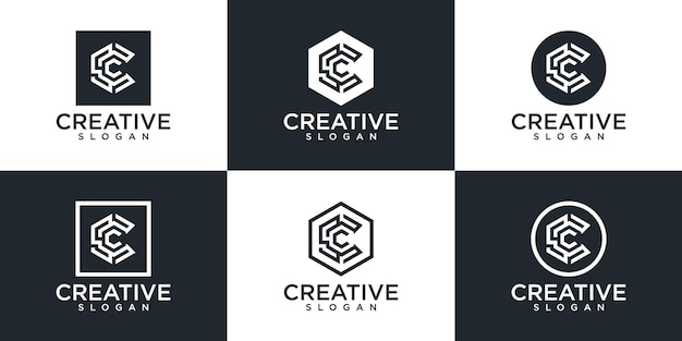 モノグラム文字 c ロゴ デザインのセット