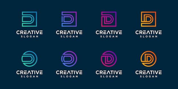 Набор вензелей буква d дизайн логотипа premium векторы