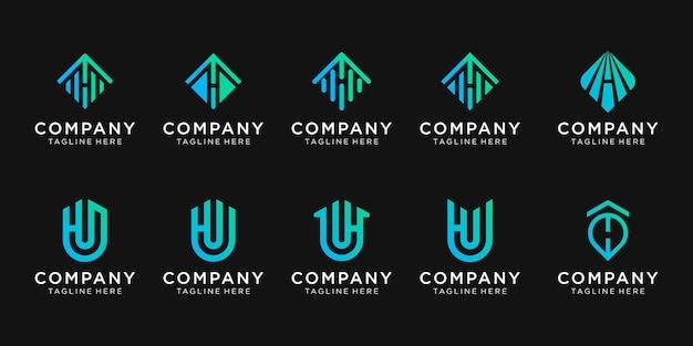 비즈니스를위한 모노그램 문자 h 로고 디자인 세트