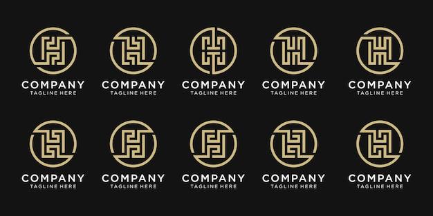 ビジネスのためのモノグラム文字hロゴデザインのセット