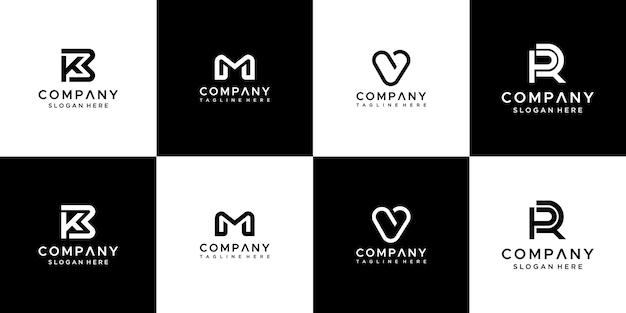 모노그램 문자 이니셜 로고 디자인의 집합입니다. 프리미엄 벡터