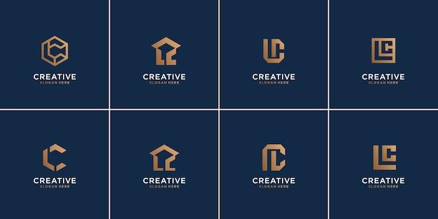 モノグラム文字lと文字cの組み合わせ、豪華な、アイコン、テンプレート、抽象のセット。