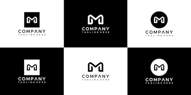 モノグラム文字mロゴデザインテンプレートのセット