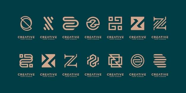 モノグラム文字zゴールドカラーロゴデザインテンプレートのセットです。