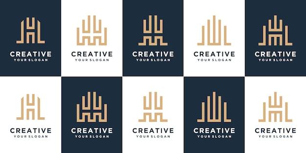 モノグラム文字hロゴデザインのセット。