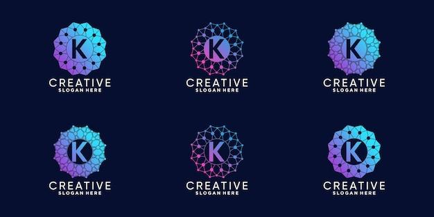 라인 아트 및 도트 스타일이 있는 기술 초기 문자 k에 대한 모노그램 로고 디자인 세트