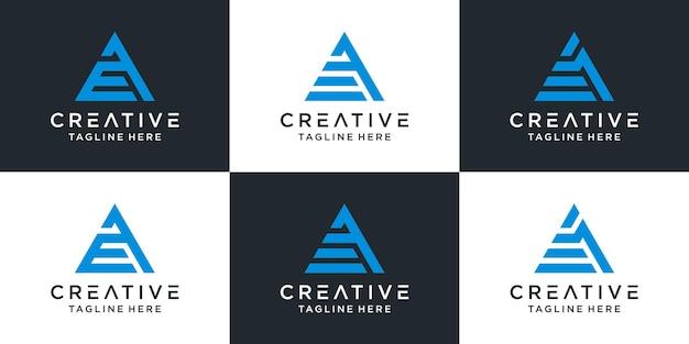 삼각형 스타일의 모노그램 로고 디자인 문자 ae 세트