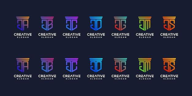 Набор монограмм для дизайна логотипа премиум вектор