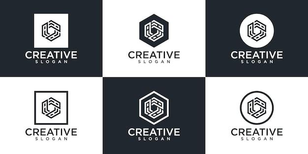 モノグラムロゴデザインのセット