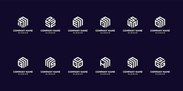 Набор геометрических логотипов вензеля премиум вектор
