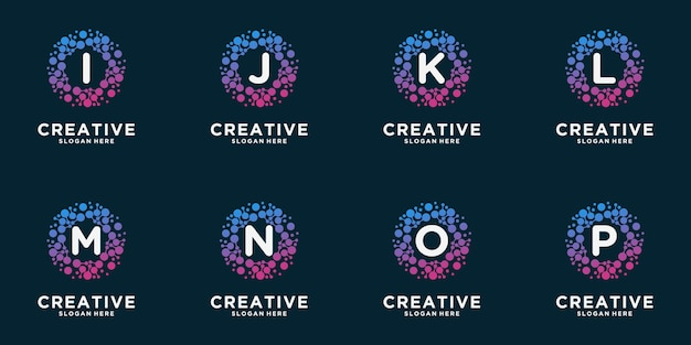도트 개념 모노그램 로고의 집합입니다. 보편적 인 다채로운 생명 공학 분자 원자 dna 칩. 연구, 과학, 의료, 로고, 기술, 실험실, 분자