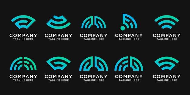 Набор векторных логотипов вензеля для бизнеса