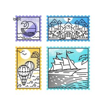Monoline 우표, 바다 휴가 및 해양 테마의 집합입니다. 편지 및 디자인에 대한 우편 장식.