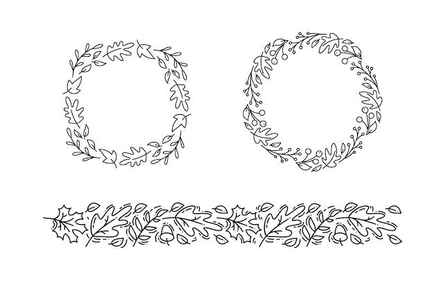 モノラインのセットラウンド秋花輪とテキストのための場所で飾り