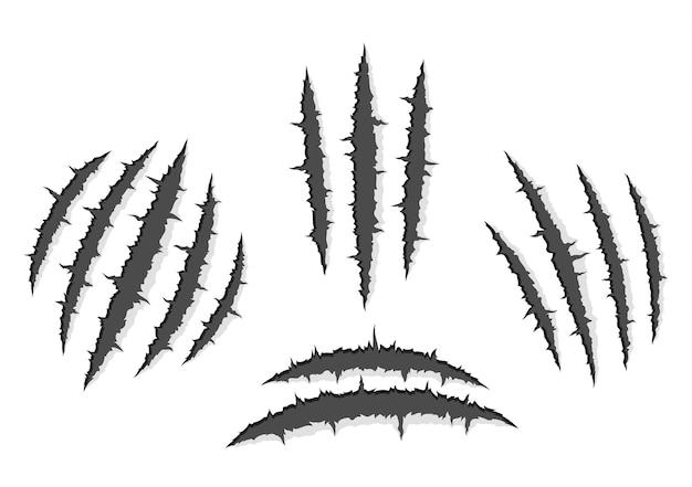괴물 발톱, 손 긁힘 또는 그림자와 빛이있는 흰색 배경을 통해 찢어짐 세트