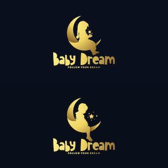 Набор дизайна логотипа луны и мечтающего ребенка