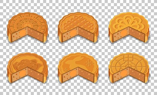 Набор лунных тортов, изолированные на прозрачном фоне