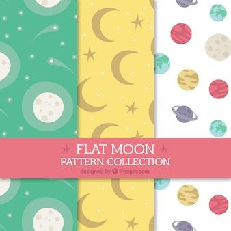 Набор шаблонов луны в плоском дизайне