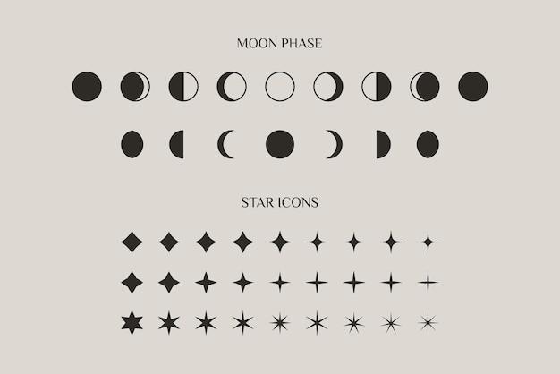 月の満ち欠けと星の輝きのセットは、トレンディなミニマルスタイルのシンボルに署名します。ロゴ、パターン、webデザインを作成するためのベクトルアイコン