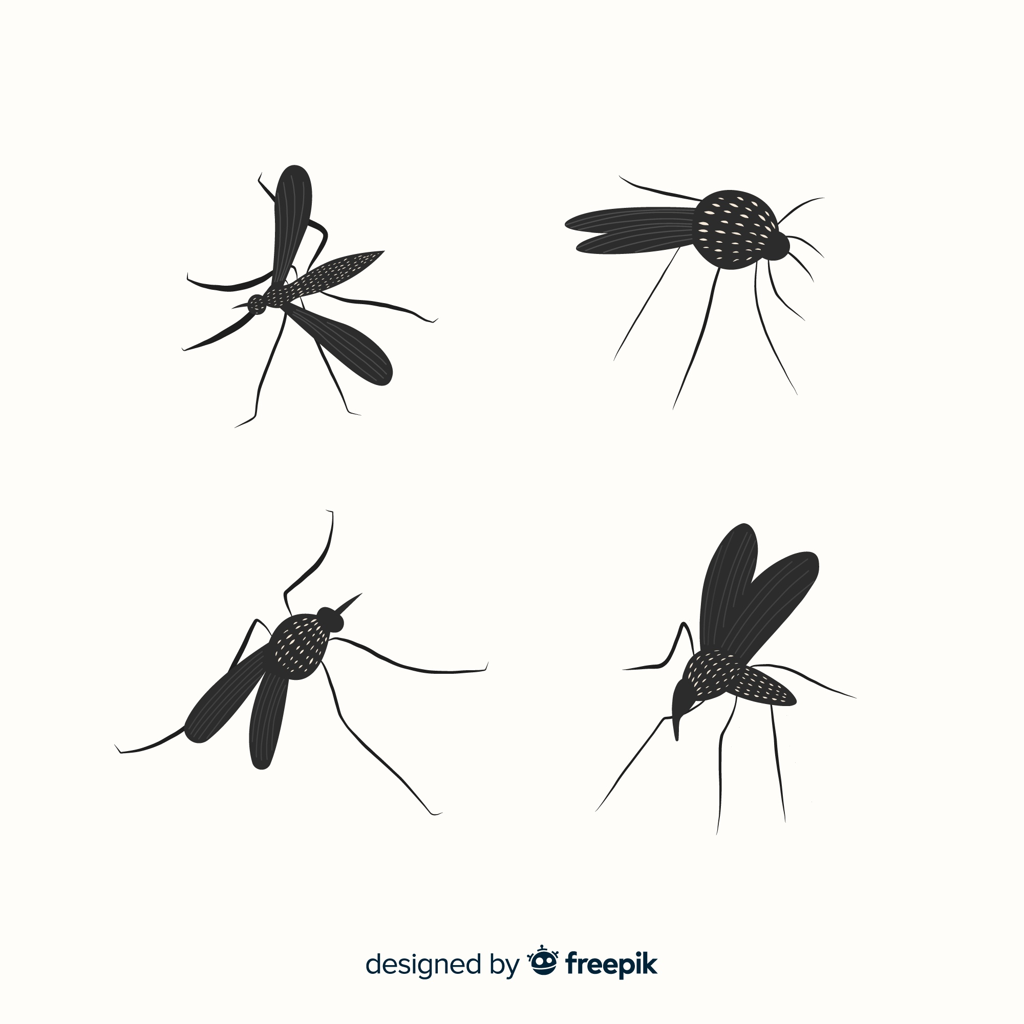 Set of mosquito silhouettes in flat style