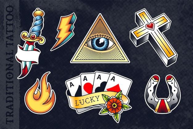 가장 인기있는 올드 스쿨 나이프, 플래시, 눈 삼각형, 십자가, 불꽃, 포커 카드 및 말굽 세트.