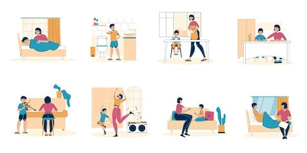 Набор персонажей матери и сына, проводящих время вместе, ежедневные карантинные сцены.