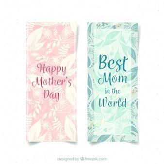 Набор баннеров дня матери в акварельном стиле
